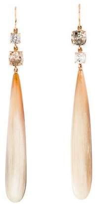 Sylva + Cie 14K Diamond & Horn Drop Earrings