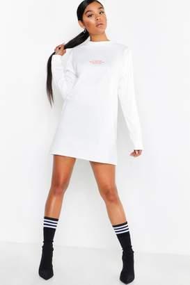 boohoo Too Close Long Sleeve Slim Sweat Dress