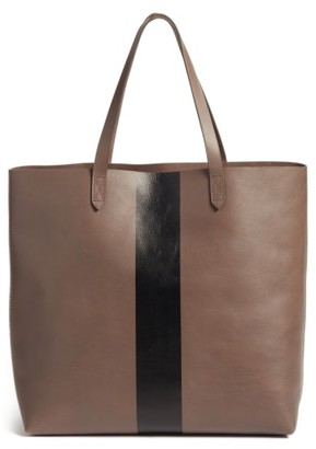 Madewell Paint Stripe Transport Leather Tote - Grey $198 thestylecure.com