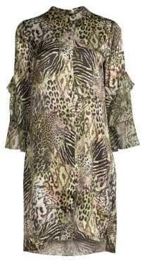 Elie Tahari Sawyer Safari Animal Print Silk Mini Dress