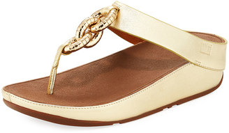 Fitflop Superchain Metallic Toe-Thong Sandal, Gold $89 thestylecure.com