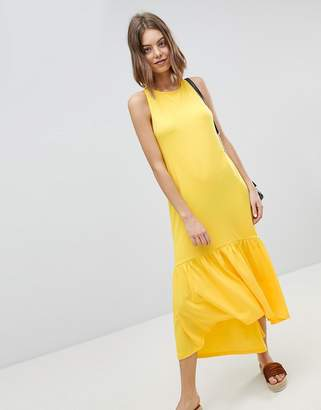 Asos Design Maxi Dress With Racer Back And Hi Lo Pep Hem
