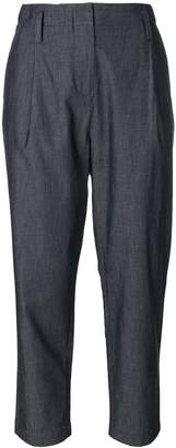 Emporio Armani pleated cropped high-waisted trousers