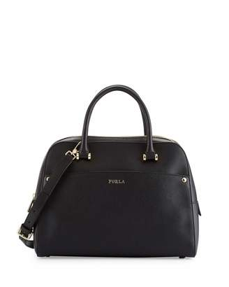 Furla Margot Medium Leather Satchel Bag, Onyx $340 thestylecure.com