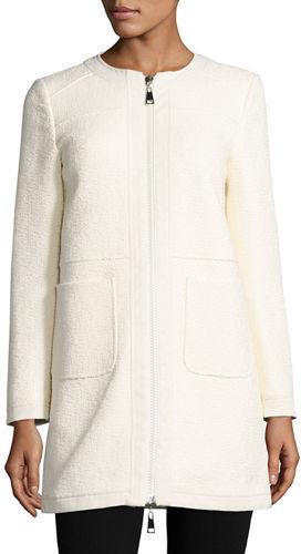 MonclerMoncler Freesia Tweed Collarless Reversible Coat