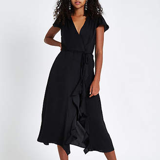 River Island Black frill wrap front midi dress