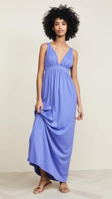 Susana Monaco Gathered Plunge Front Maxi Dress