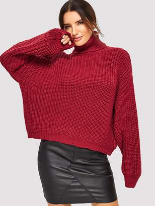 Shein Turtle Neck Batwing Sleeve Solid Jumper