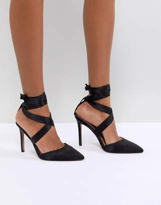 Asos DESIGN PINOT Satin Lace Up Heels