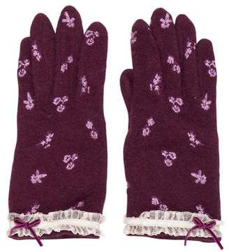 Anna Sui Floral Embroidered Gloves