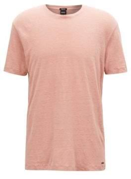 BOSS Hugo Crew-neck T-shirt in single-jersey linen M Light Red
