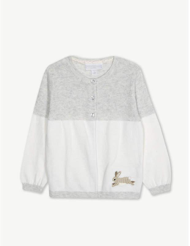 The Little White Company Rabbit appliqué cotton cardigan 0-24 months