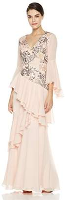 Social Graces Women's V-Neck Long Bell Sleeve Floral Embroidery Ruffle Drape Evening Gown 6