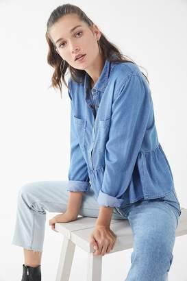 Urban Outfitters Denim Ruffle Babydoll Shirt