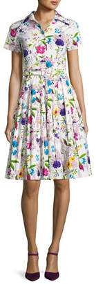 Samantha Sung Avery Short-Sleeve Floral-Print Shirtdress