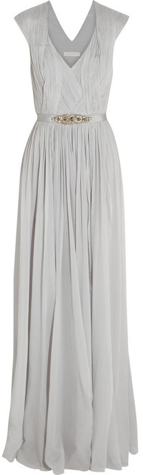 Matthew Williamson Embellished stretch-silk georgette gown