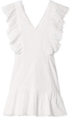 LoveShackFancy Alanis Ruffled Broderie Anglaise Cotton Mini Dress - White