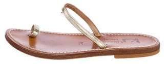 K Jacques St Tropez Leather Slide Sandals