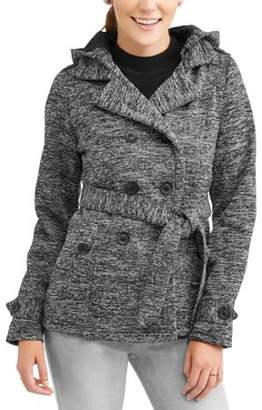 Yoki Women's Double Breasted Belted Fleece Jacket With Hood