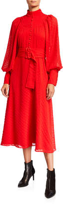 Rotate by Birger Christensen Number 37 Belted High-Neck Embroidered Dress