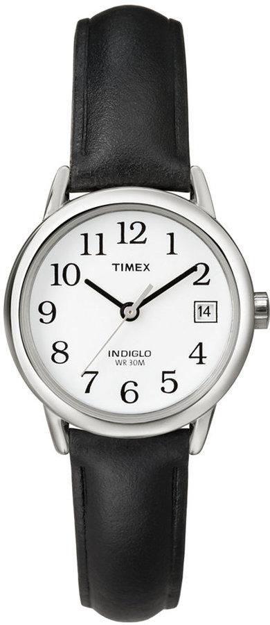 Timex Watch, Women's Black Leather Strap 25MM T2H331UM