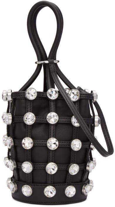 Alexander Wang Black Crystal Mini Roxy Bucket Bag
