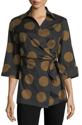Finley Courtney Dotted Wrap Blouse