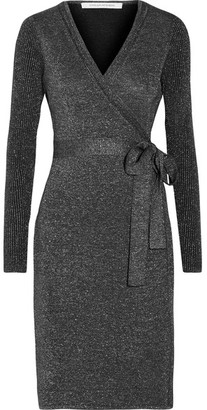 Diane von Furstenberg - Evelyn Metallic Merino Wool-blend Wrap Dress - Midnight blue $500 thestylecure.com