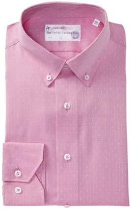 Lorenzo Uomo Textured Woven Trim Fit Dress Shirt