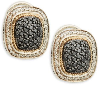 Effy Sterling Silver, 14K Yellow Gold, White & Black Diamond Stud Earrings