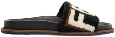 Fendi - Printed Shearling Slides - Black