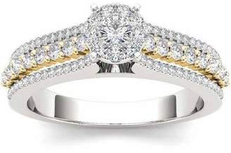 Imperial Diamond Imperial 1/2 Carat T.W. Diamond Yellow Two-Tone Split Shank Cluster 10kt White Gold Engagement Ring