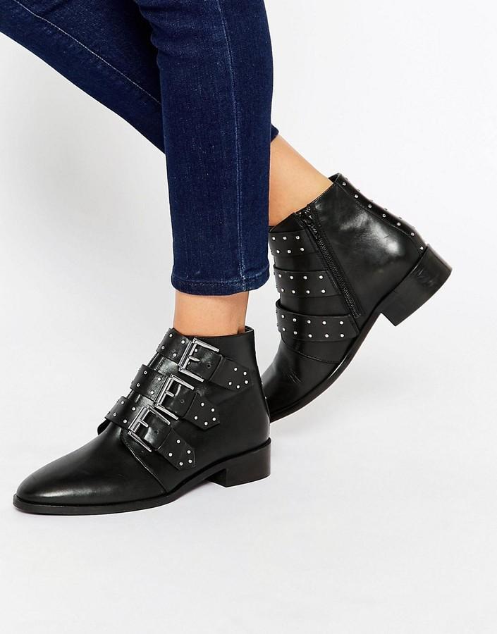 AsosASOS ASHLEIGH Leather Studded Ankle Boots