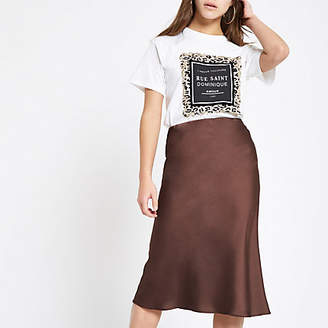 River Island Petite dark brown bias cut midi skirt