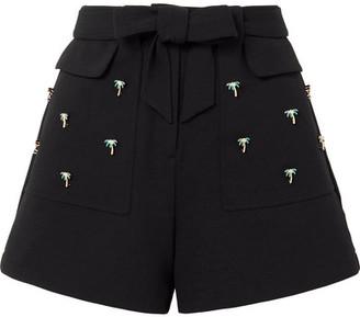 Maje Embellished Stretch-crepe Shorts - Black