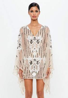 Missguided Nude Kimono Sleeve Embellished Plunge Dress