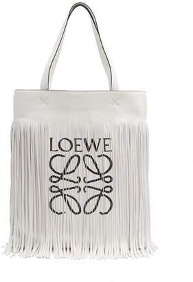 Loewe Paula logo-print fringe tote