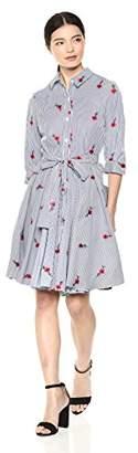 Betsey Johnson Women's Embroidered Shirt Dress, Blue/Multi