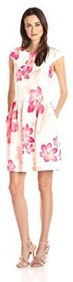 Calvin Klein Women's Cap Sleeve White Ground Floral Print Fit & Flare Dress