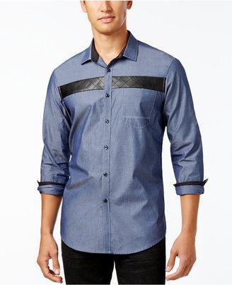 INC International Concepts Men's Faux-Leather Trim Shirt, Only at Macy's $65 thestylecure.com
