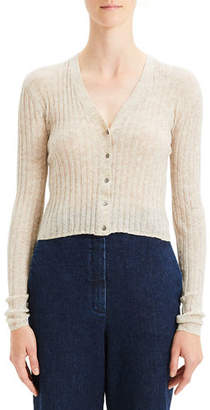 Theory Cropped Button-Front Ribbed Alpaca Cardigan