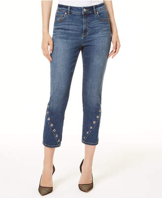 INC International Concepts Inc Petite Grommet High Rise Cropped Skinny Jeans