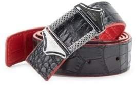 StingHD Reversible Croc-Embossed Leather Belt