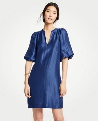 Ann Taylor Shimmer Puff Sleeve Shift Dress