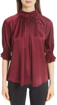 ADAM by Adam Lippes Silk Charmeuse Smocked Blouse