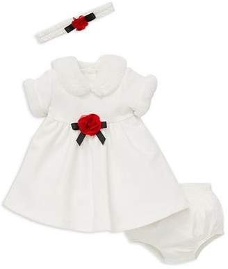 Little Me Girls' Dress with Faux-Fur Trim, Bloomers & Headband Set - Baby