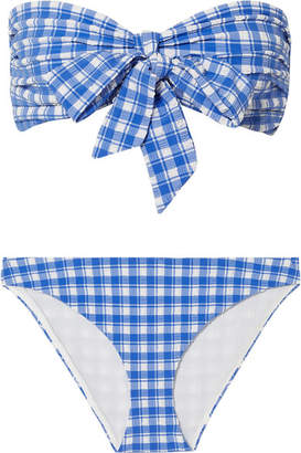 Ganni Jewett Gingham Seersucker Bikini - Blue
