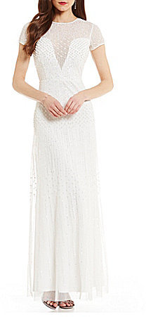 Adrianna Papell Adrianna Papell Short-Sleeve Beaded Bridal Gown