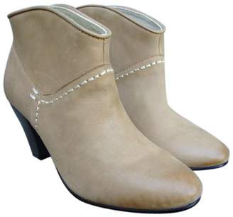 Maje Beige Leather Ankle boots