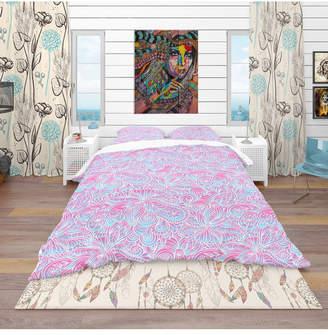 Design Art Designart 'Wavy Gradient Pattern' Bohemian and Eclectic Duvet Cover Set - King Bedding